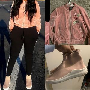 Suede bomber jacket and socks sneakers
